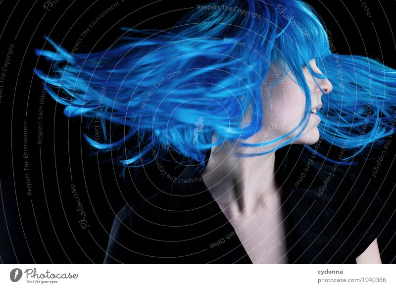 Human being Youth (Young adults) Blue Beautiful Young woman Eroticism 18 - 30 years Adults Life Movement Emotions Style Hair and hairstyles Freedom Flying Dream