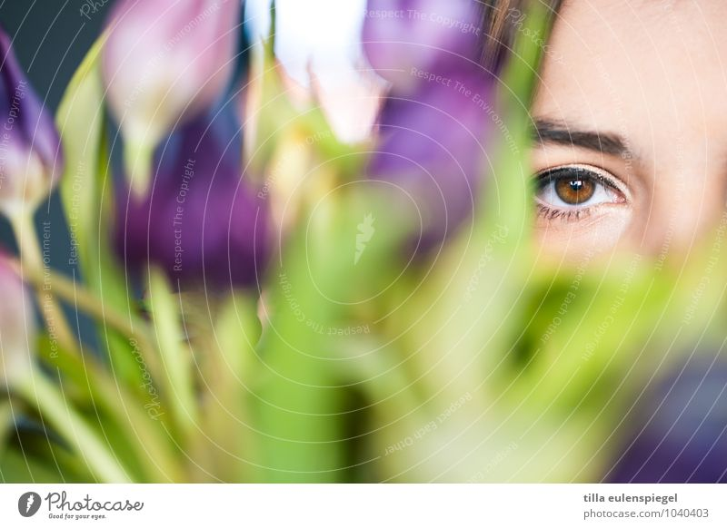 Through the flower Feminine Young woman Youth (Young adults) Life Eyes 1 Human being 18 - 30 years Adults Plant Flower Foliage plant Observe Looking Wait