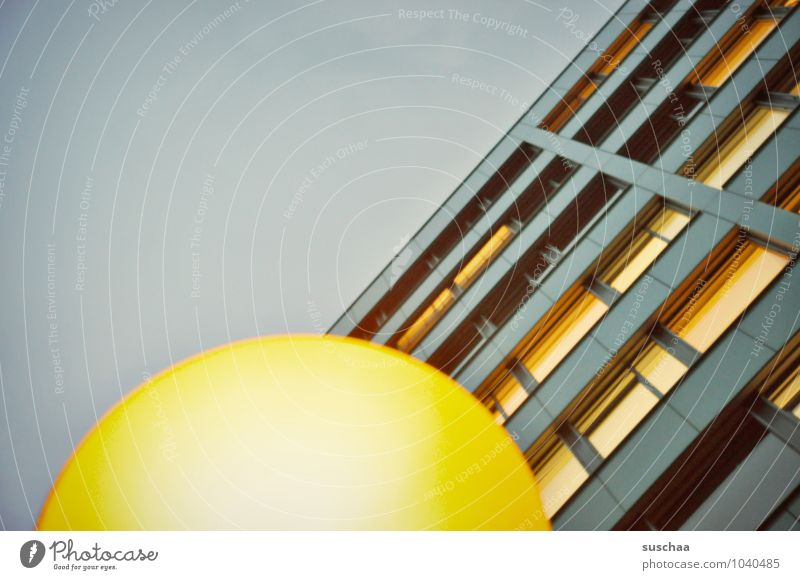 house & lamp Sky Town House (Residential Structure) High-rise Building Window Retro Blue Yellow Round Curved Line Geometry Abstract Colour photo Subdued colour