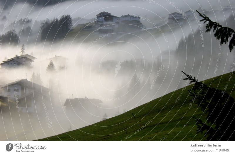 White Green Calm House (Residential Structure) Mountain Fog Village Mysterious Hill Valley Peaceful Cover up Fog bank