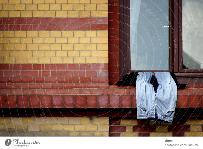 Sky Red Yellow Relaxation Wall (building) Window Glass Jeans Brick Pants Services Hang Dry Forget St. Pauli Windowsill