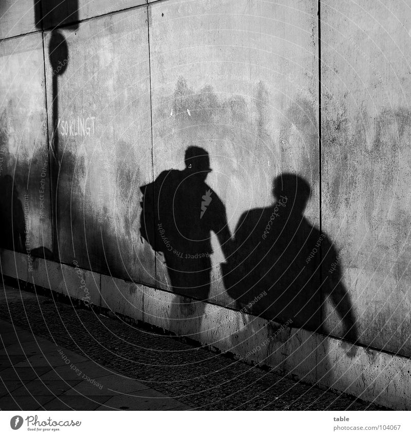 downside Concrete Wall (barrier) Wall (building) Gray Town Sidewalk Shadowy existence Shadow play Man Closing time Human being Black & white photo Fear Panic