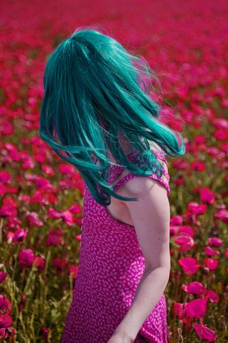 windswept Feminine 1 Human being Spring Summer Beautiful weather Agricultural crop Wild plant Field Dress Friendliness Happiness Fresh Happy Kitsch Positive