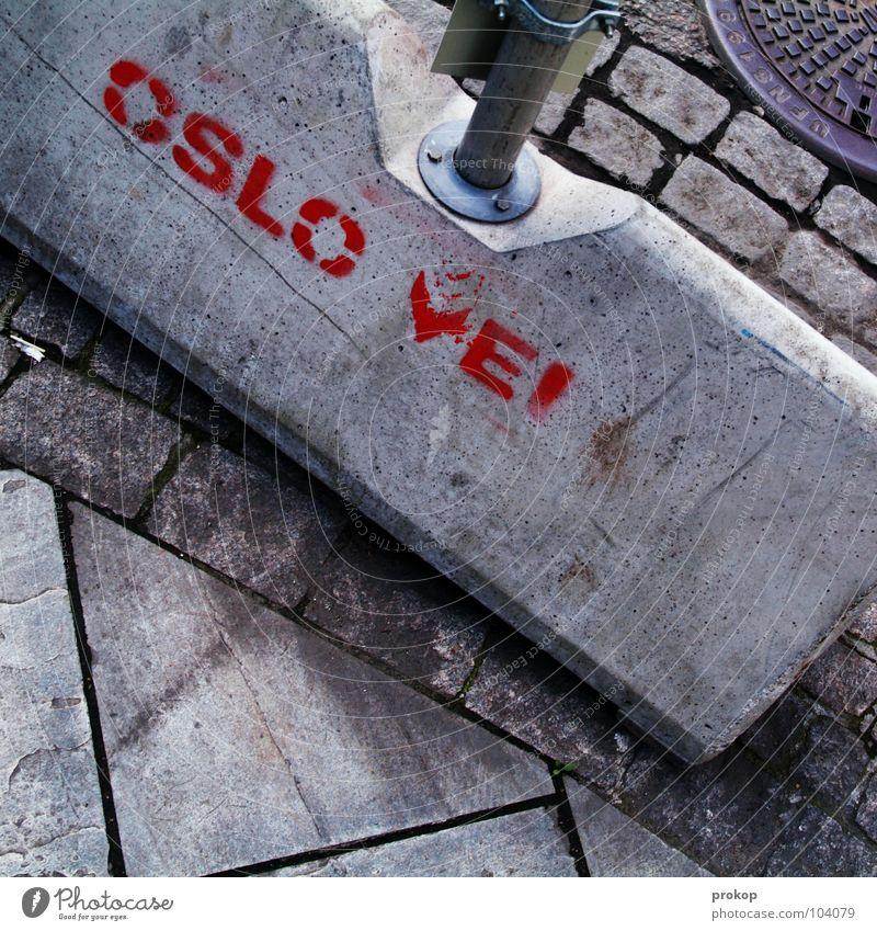 location determination Oslo Construction site Concrete Asphalt Gully Mixture Muddled Untidy Hard Text Letters (alphabet) Norway Norwegian Scandinavia Landmark
