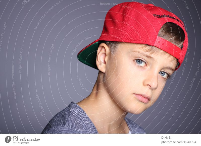 Cool look Human being Masculine Boy (child) Infancy Head Neck Shoulder 1 8 - 13 years Child Modern Athletic Cool (slang) Colour photo Studio shot