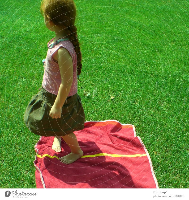 Child Girl Green Red Meadow Playing Grass Garden Freedom Happy Small Elegant Lawn Shows Longing Side
