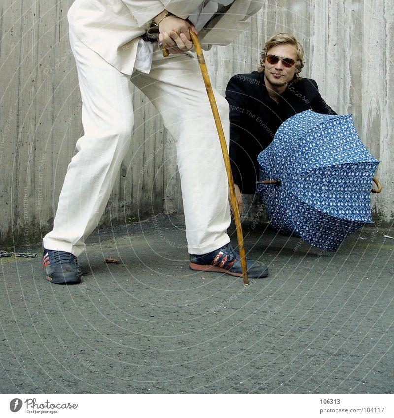 YOU SAY IT'S TRASH? [KOLABO] Freak Nerdy Young man 2 In pairs Suit Walking stick Umbrella Trashy Funster Sunglasses Copy Space bottom Black White Feeble Needy