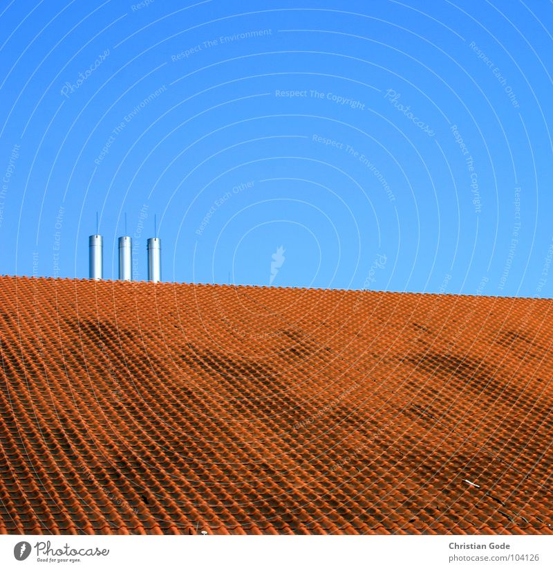 Sky Blue Red Above Architecture Horizon 3 Roof Square Brick Steel Chimney Roofing tile Auditorium