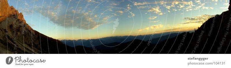 Sky Sun Blue Summer Clouds Far-off places Forest Mountain Freedom Stone Rope Horizon Rock Alps Infinity Austria