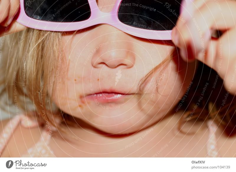 Child Hand Beautiful Sun Summer Girl Joy Face Nutrition Playing Hair and hairstyles Happy Funny Bright Pink Mouth