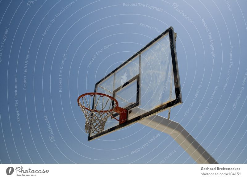 dark spot Basket Sports Playing Ball sports Basketball Sky Beautiful weather Net Blue
