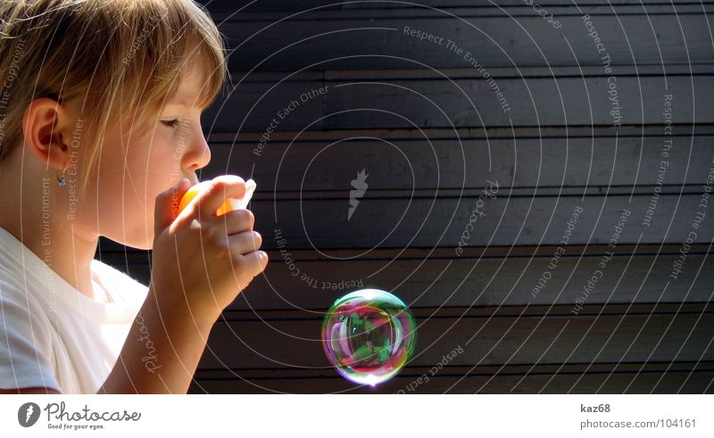 soap bubble II Soap bubble Round Blow Happiness Rainbow Toys Multicoloured Background picture Whim Air Black Wood Playing Action Caustic solution Girl Blonde
