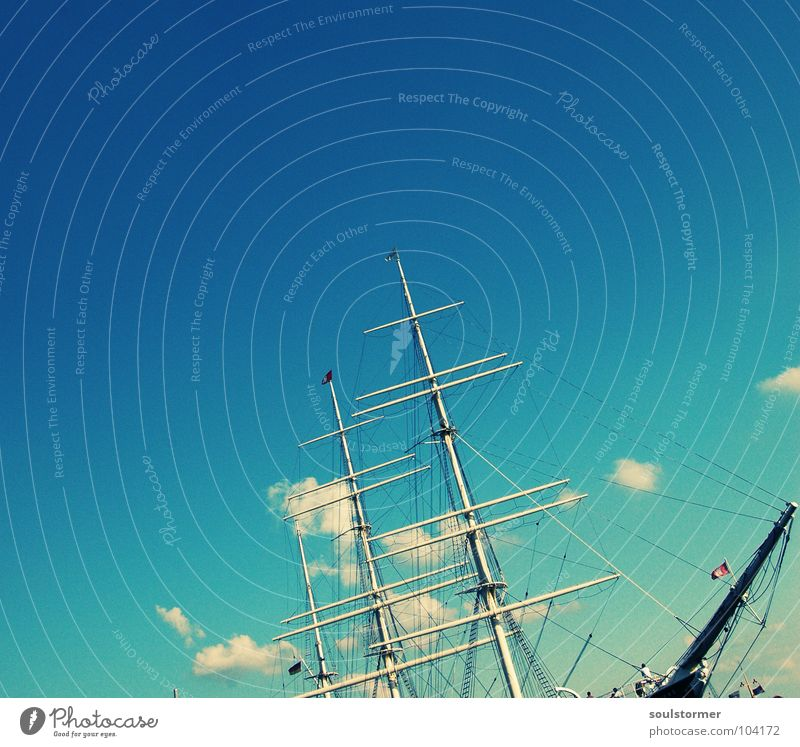 Sky Old Water Ocean Clouds Far-off places Life Freedom Harbour Navigation Electricity pylon Sail Great Sailing ship Port City