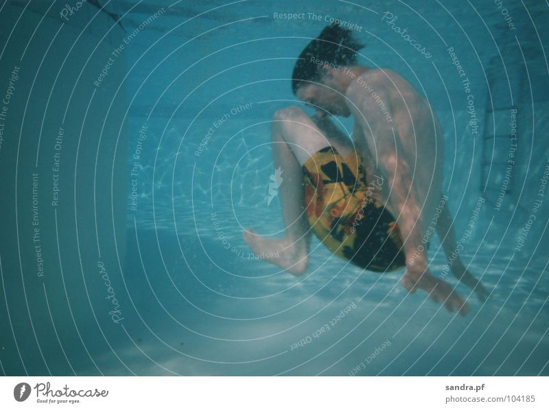 Blue Water Playing Air Swimming & Bathing Swimming pool Dive Blow Ladder Breathe Air bubble Light blue Underwater photo