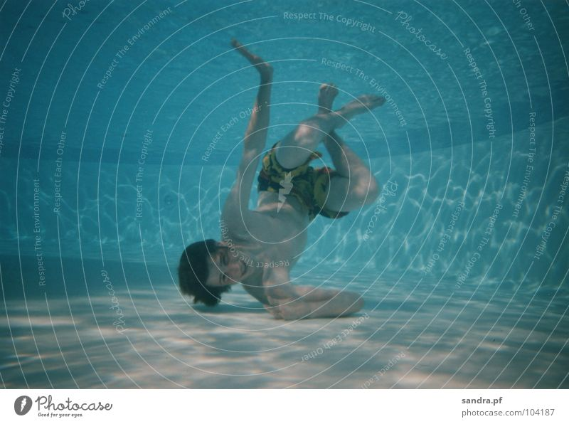 Aquarius IV Air bubble Swimming pool Light blue Dive Breathe Playing Water Underwater photo Blow Blue Ladder Swimming & Bathing
