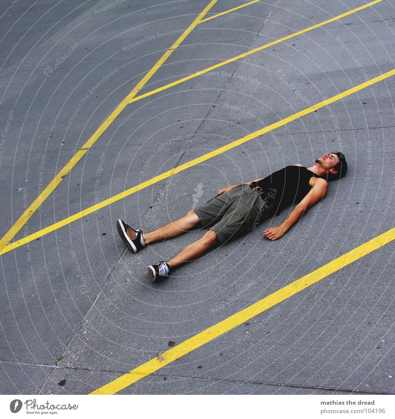 Human being Man Loneliness Yellow Gray Stone Line Contentment Crazy Lie Fatigue Hard Exhaustion Ground markings