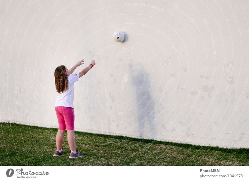 shadow ball Joy Playing Ball sports ball wall Child Girl 1 Human being 8 - 13 years Infancy Sports Throw Happiness Contentment Equal Symmetry Colour photo
