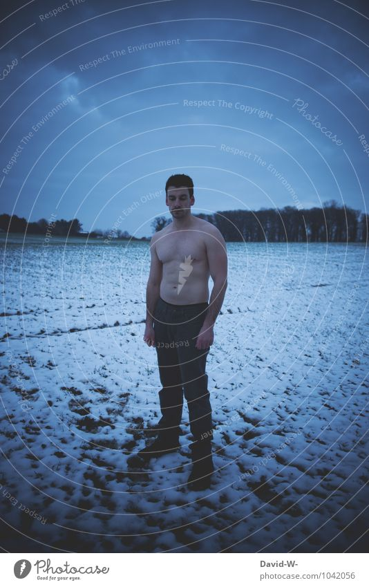 Cold Lost Bet Human being Masculine Young man Youth (Young adults) Man Adults Life 1 Nature Winter Bad weather Ice Frost Snow Snowfall Warmth Field Fitness