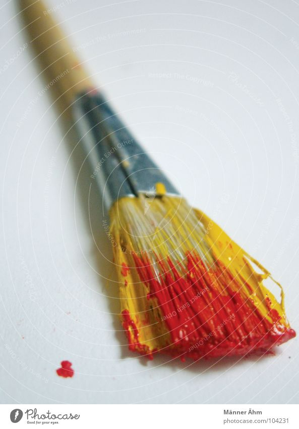 swerve brush Paintbrush Acrylic paint Red Yellow Patch Wood Bristles Painting and drawing (object) Art Culture Decoration woman Painting (action, work) Draw