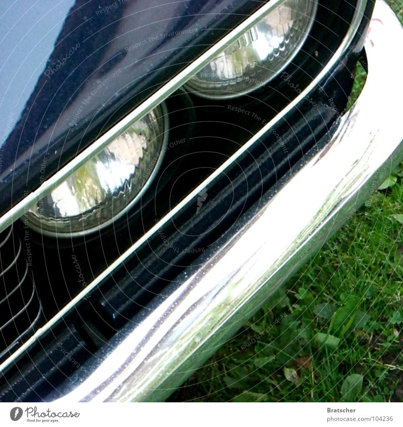 Old Car Metal Cool (slang) Retro Motor vehicle Vintage car Section of image Partially visible Car headlights Front side Carriage Chrome Polished Bumper