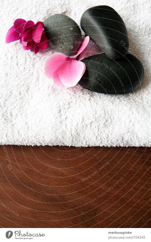 wellness Wellness Relaxation Blossom Towel Stone Massage Wood Table Acacia Far East Beautiful Spa Volcano