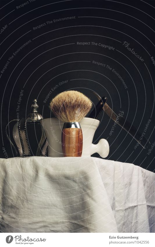 old shaving things on a washbasin Beautiful Personal hygiene Hair and hairstyles Skin Face Cosmetics Razor blade Wood Metal Exceptional Elegant Success Rich