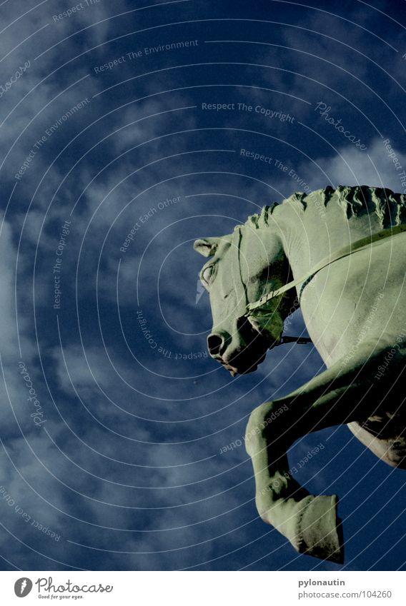 Sky Blue Clouds Flying Horse Monument Statue Landmark Sculpture Bremen Equestrian sports Mane Rider Hoof Nostrils