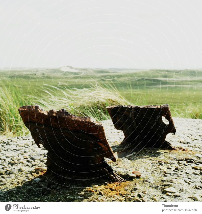 2 x 2 - No. 2/2 Vacation & Travel Environment Nature Landscape Sky Summer Plant Grass Dune Denmark Concrete Metal Old Esthetic Broken Natural Gray Green Black