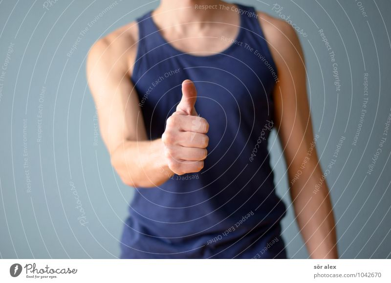 Human being Man Blue Hand Adults Sports Healthy Health care Masculine Body Fitness Athletic Sports Training Self-confident Sportsperson Thumb