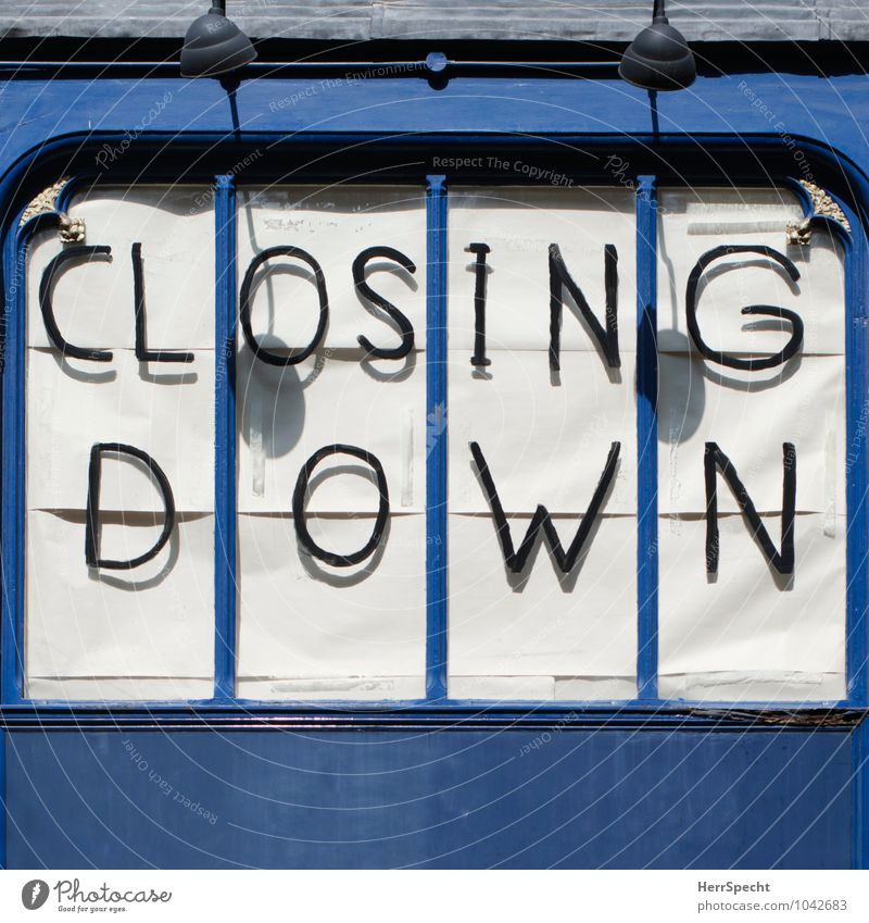 City Old Blue House (Residential Structure) Window Facade Work and employment Business Characters Future Transience Change Shopping Fear of the future End