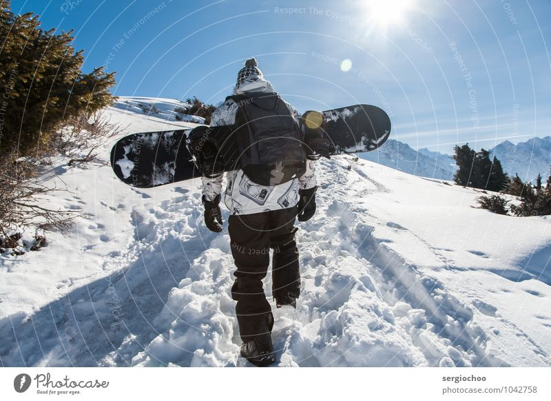 back country Tourism Far-off places Freedom Mountain Sports Winter sports Hiking Snowboard Young man Youth (Young adults) Man Adults 1 Human being 18 - 30 years
