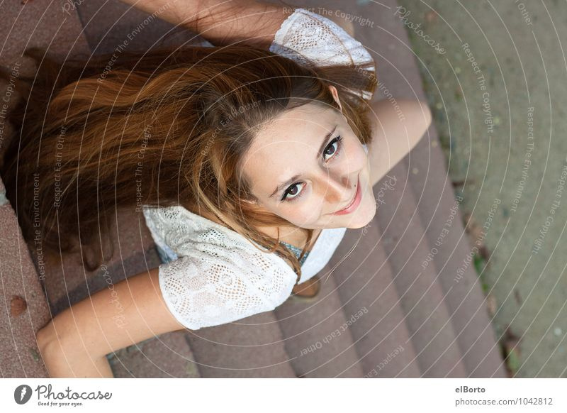 Look up Elegant Style Beautiful Human being Feminine Young woman Youth (Young adults) Woman Adults Face 1 18 - 30 years Brunette Long-haired To enjoy Happiness