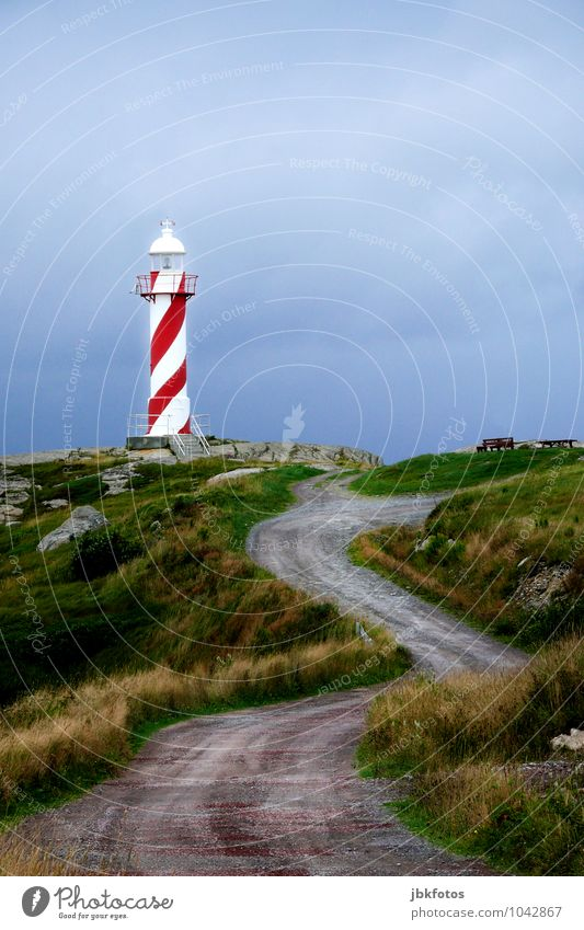 road to the lighthouse Environment Nature Landscape Beautiful weather Kitsch Communicate Lighthouse Illuminate Red-white-red Exterior shot