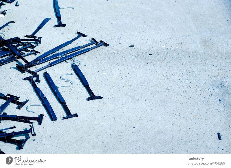 Blue Stone Bright Concrete Floor covering Asphalt Plastic Trash Broken Destruction Checkmark Hanger Slivered Clothes peg Bright background