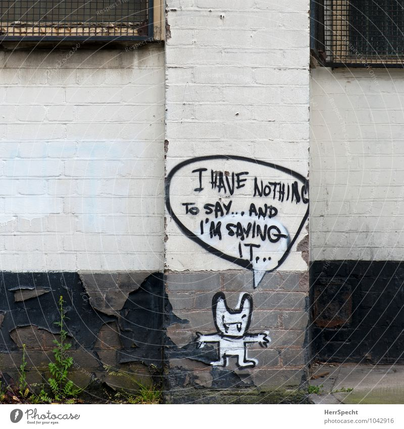 Old White Wall (building) Graffiti To talk Building Wall (barrier) Gray Gloomy Characters Empty Manmade structures Trashy London English Speech bubble