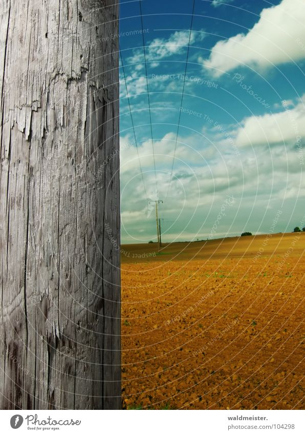On a late summer's day. Wood Electricity pylon Transmission lines High voltage power line Cable Steel cable Energy industry Summer Autumn Sky Clouds Field Earth