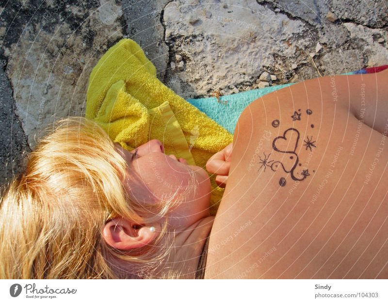 sunbathe Relaxation Towel Blonde Sleep Yellow Woman Summer Summer feeling Things Love Sweet Heart Skin Ear Stone Tattoo tat Painting (action, work)