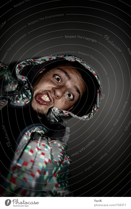 Man Face Black Eyes Dark Style Crazy Teeth Point Anger Jacket Patch Aggravation Hooded (clothing) Snarl