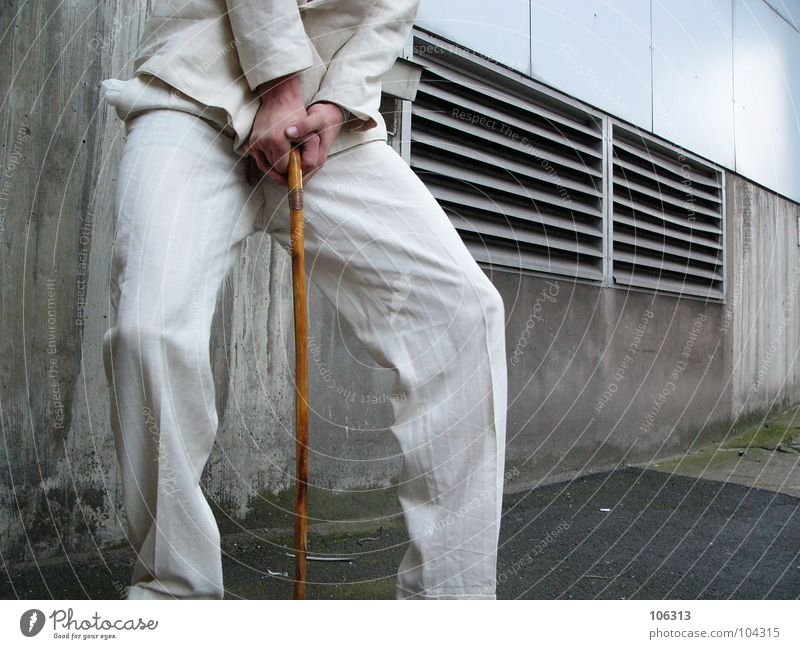 Man White Suit Anonymous Walking aid Section of image Partially visible Headless Support Faceless Precarious Unidentified Unrecognizable Walking stick