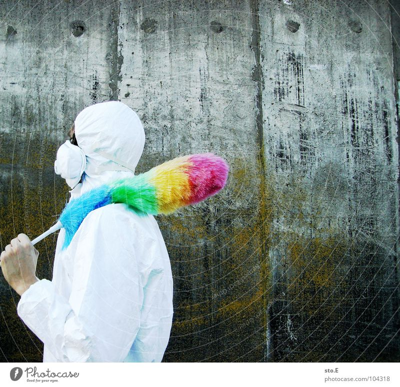 [b/w] armed Fellow Posture White Working clothes Quarantine Laboratory Laboratory assistant Cleaning Cleaner Feather duster Multicoloured Mask Sunglasses