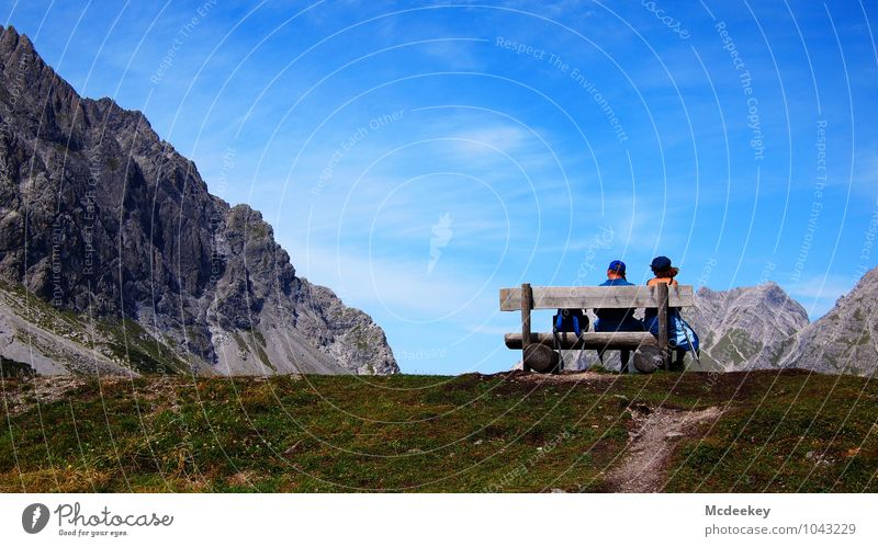 Human being Woman Sky Nature Man Blue Green White Summer Landscape Clouds Adults Mountain Feminine Grass Gray