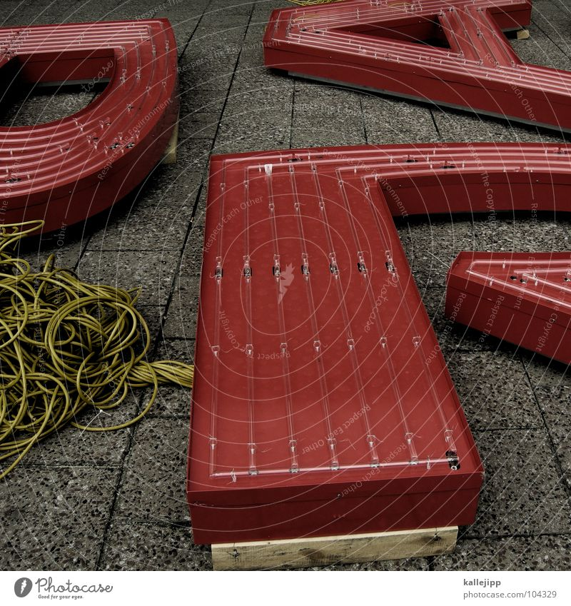 Characters Study Letters (alphabet) Cable Sidewalk Write Student Typography Prefab construction Alexanderplatz Neon sign Latin alphabet Terminal connector