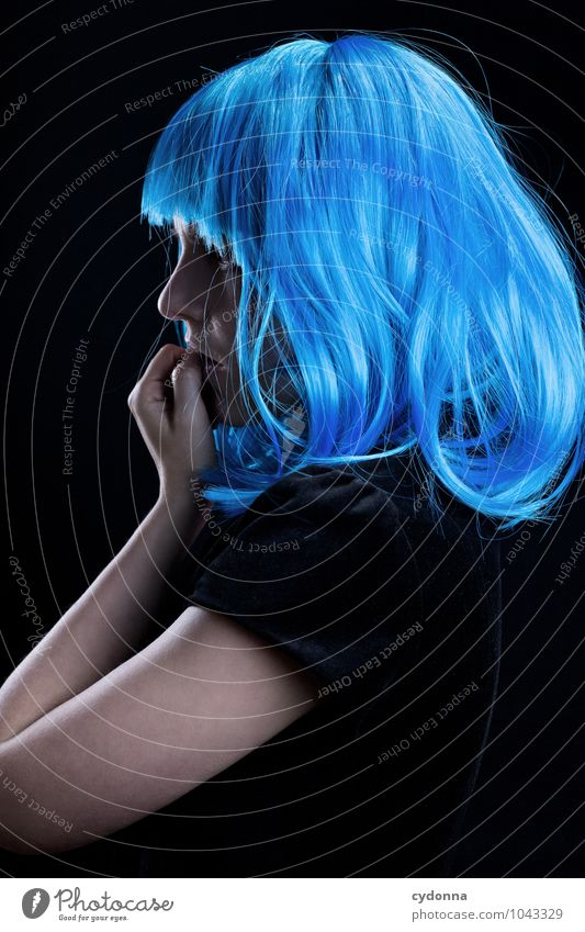 Human being Youth (Young adults) Blue Beautiful Young woman Calm Eroticism 18 - 30 years Adults Life Emotions Style Hair and hairstyles Dream Meditative Elegant