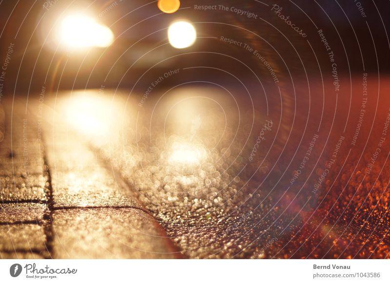 White Dark Yellow Street Lighting Lamp Bright Orange Car Transport Dangerous Wet Threat Footpath Sidewalk Risk