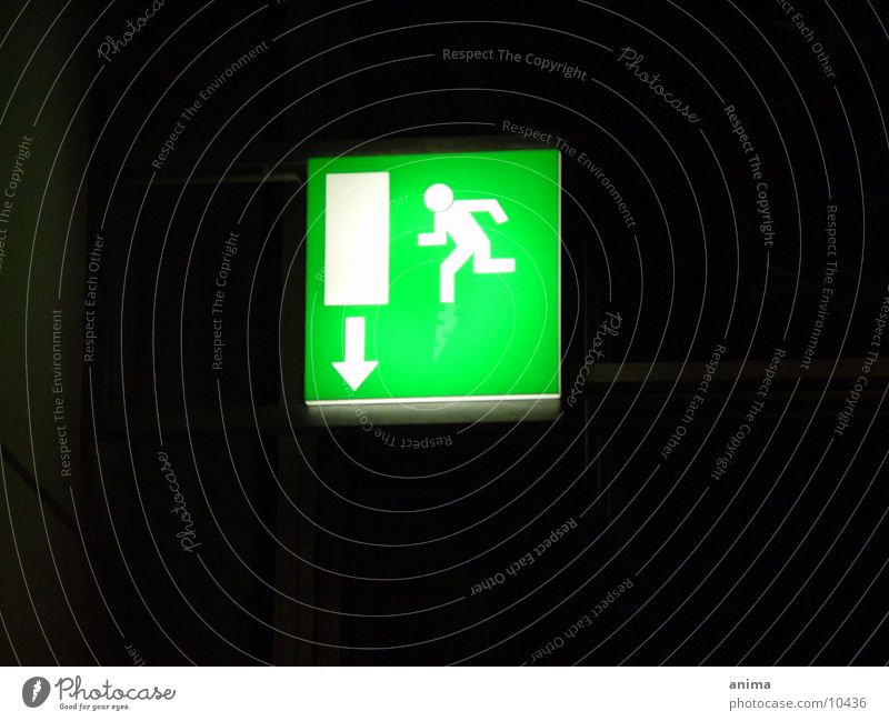 a way out Green Black Escape route Exit route Photographic technology Arrow