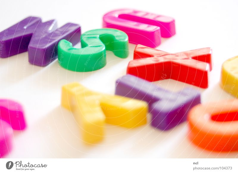 Letters SECHS Letters (alphabet) Multicoloured Yellow Green Red White Word Magnet Reading Chaos Muddled Untidy Together Characters Joy Decoration letter letters