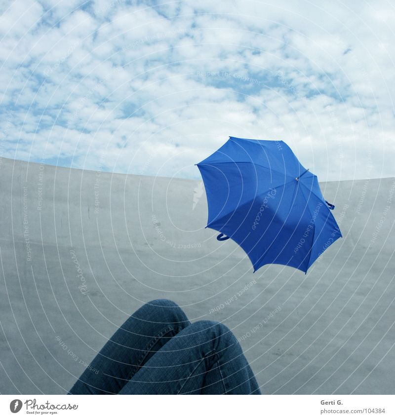 Human being Blue Clouds Line Legs Metal Flying Jeans Broken Lie Protection Umbrella Pants Border Obscure Silver
