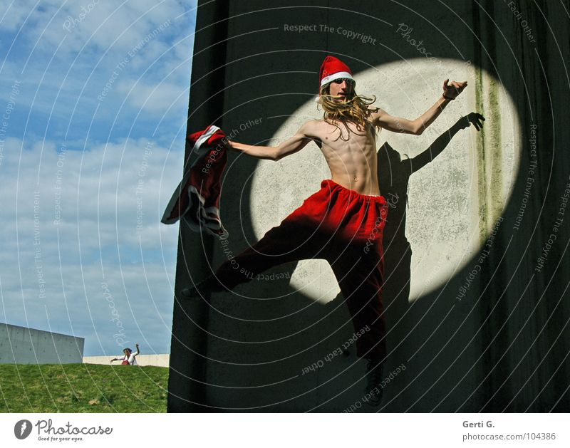 jumping Santa Claus Body Athletic Fitness Christmas & Advent Human being Masculine Androgynous Young man Youth (Young adults) Man Adults 1 13 - 18 years Sky
