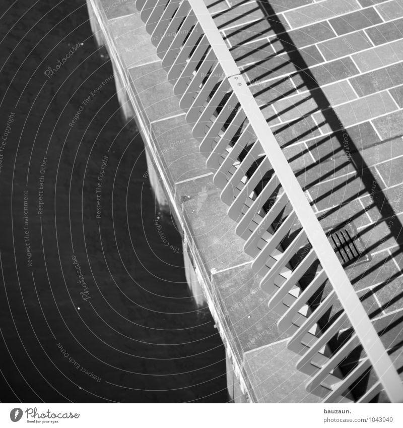 hamburger zebra. Water River Town Port City Bridge Transport Traffic infrastructure Pedestrian Lanes & trails Bridge railing Stone Metal Line Stripe Sharp-edged