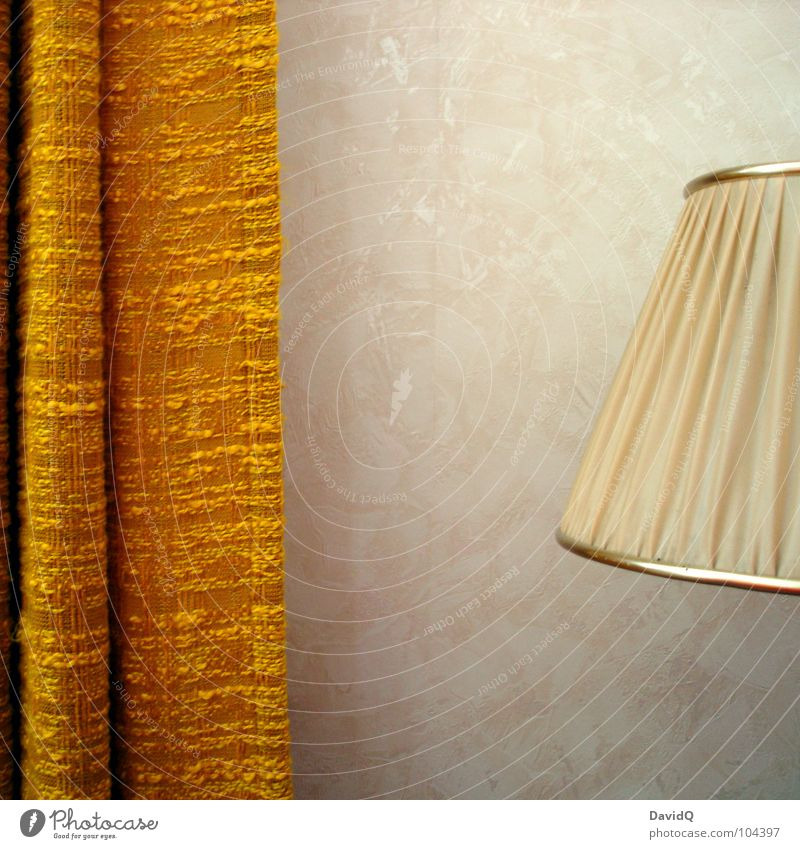 Old Yellow Lamp Brown Retro Umbrella Furniture Past Living room Boredom Drape Nostalgia Curtain Seventies Memory Sixties